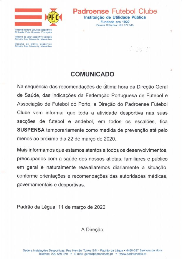 Cancelamento de toda a atividade desportiva do Padroense FC