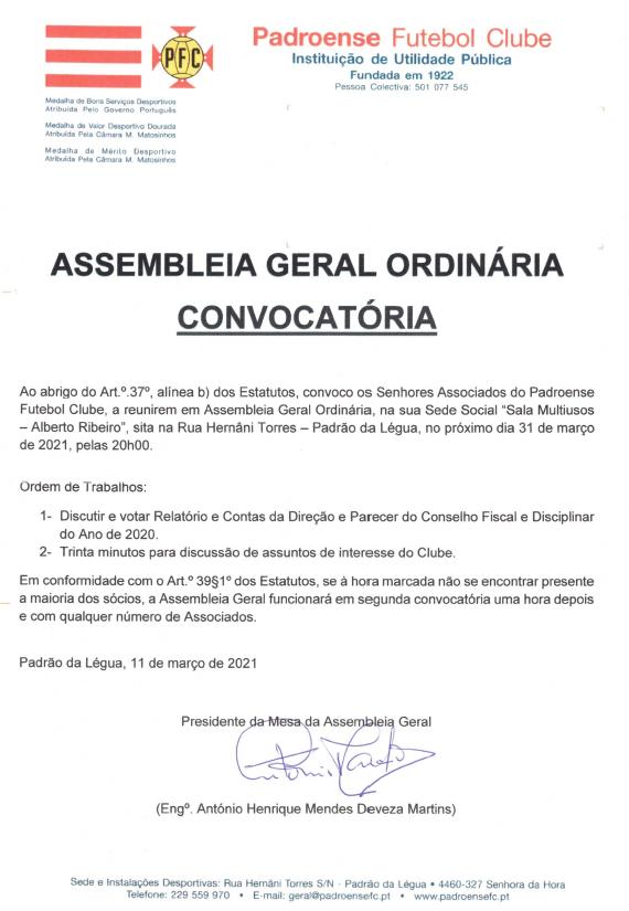 Assembleia Geral Ordinária – 18 junho 2021